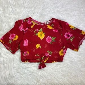 Red floral crop top keyhole open back large